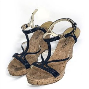Michael Kors Navy Cicely strappy wedges Size 6